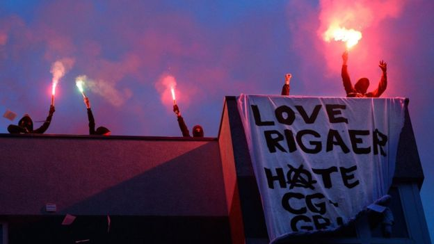 Anti-Gentrification protest and defense of 91 Rigaer housing in Berlin, July 10, 2016